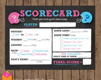 Football Scorecard - Baby Predictions Game - Contest - Gender Reveal Party - PRINTABLE - INSTANT DOWNLOAD