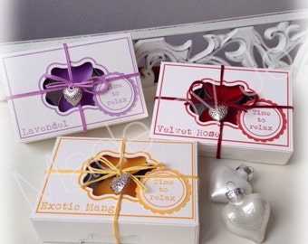 Box for twelve scent candles by Baker. Digital cutting file.