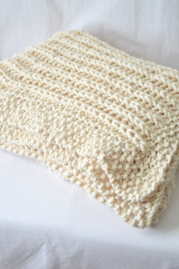 Chunky Knit Throw Blanket, Knitting Pattern, PDF Download, Knitted Afghan, Ri...