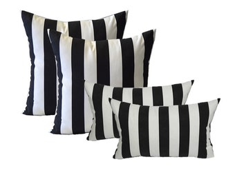 "SET OF 4 - Indoor / Outdoor 20"" Square & Rectangle / Lumbar Pillows - Black and White Stripe"