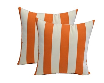 SET OF 2 - Indoor / Outdoor Preppy Orange and White Stripe ~ Square Decorative Throw Pillows - Choose Size