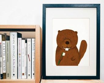 PRINT of original art - Beaver - handpainted animal character - thoothbrush - kids print - nursery print - print of a gouache painting