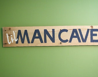 Lil' Man Cave Wooden Sign - Navy Blue