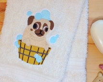 Pug Towel ~ Dog Towels ~Embroidered Towels ~Hand Towel, Bath Towel, Towel Sets~ Personalized~ Gift Idea for Dog Lovers ~Free Shipping