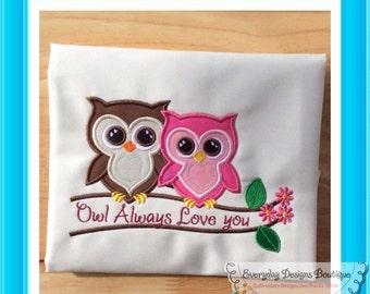 ON SALE Owls Machine Embroidery Applique Design