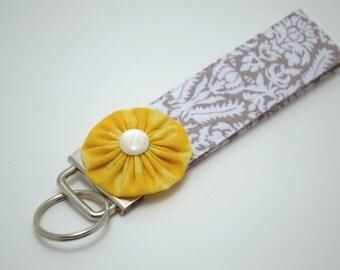 Grey Damask Wristlet Keyfob with Yellow Flower