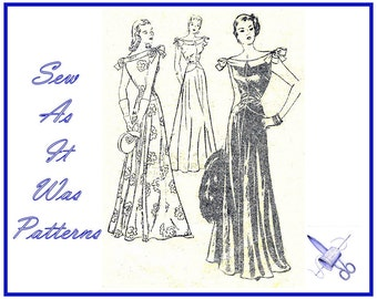 "1940s Vintage Sewing Pattern Butterick 4081 Evening Gown Portrait Neckline Bow Trim Full Length Skirt Ball Dance Dress Size 14 Bust 32"" 83cm"