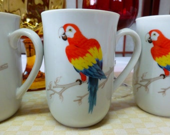 Vintage Tropical Bird Mug set of 4  Made in Japan Macaw cups or Parrot Mugs.