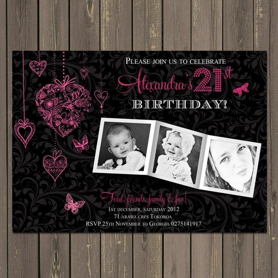 21st Birthday Party Invitation Adult Birthday Invite Photo – 21st Party Invitation