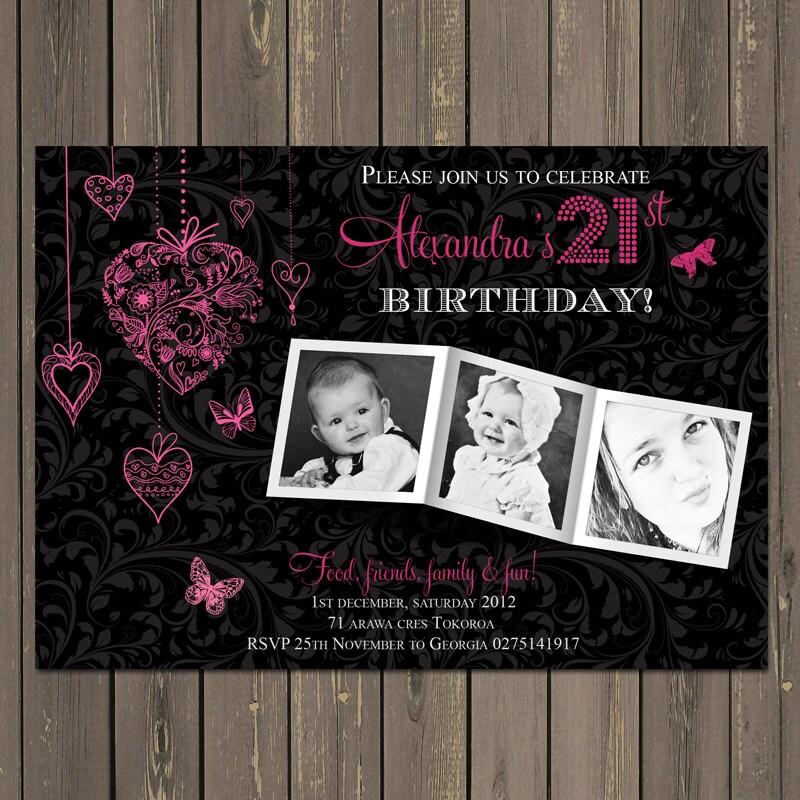 21st birthday party invitation adult birthday invite photo, Birthday invitations
