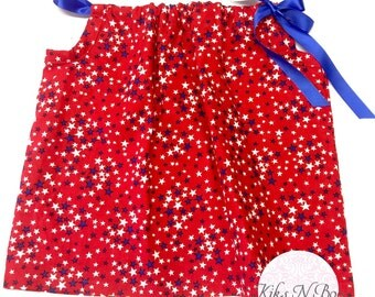 4th july pillowcase dress/top , choose size, 4th july, patriotic, toddler dress, red white blue