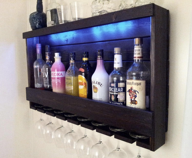 Wine Rack QUICK Ship RUSTIC Lighted Liquor Cabinet