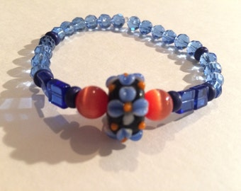 Orange and Blue Cats Eye Bracelet
