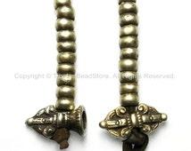 Tibetan Antiqued Brass Bell & Vajra Mala with Leather Cords Prayer Beads Mala Counter Set - T88