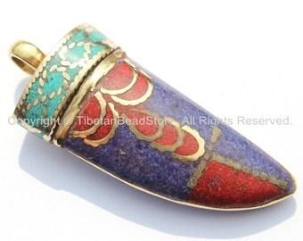 Tibetan Horn Tusk Amulet Pendant with Brass, Lapis, Turquoise & Coral Inlays - Boho Tribal Ethnic Tibetan Nepalese Horn Amulet - WM5033