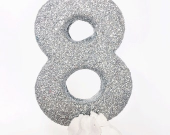 Silver glitter  #8 birthday candle - fine glitter