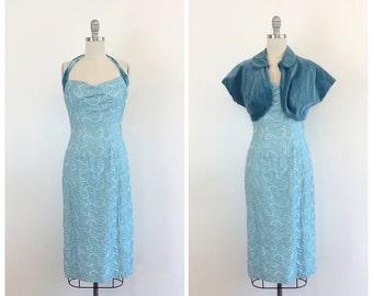 50s Blue Rhinestone Party Dress / 1950s Vintage Prom Wiggle Dress / Medium / Size 6