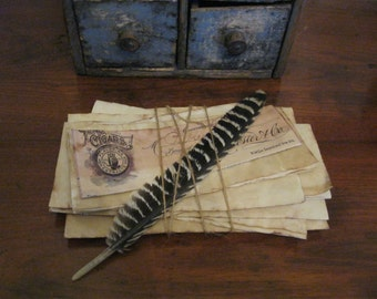 Primitive Paper Pack w/Feather, Coffee-Stained Primitive Paper Stack, Primitive Desk Accessory, Vintage Paper Pack Tied w/ String, Prim Gift