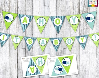 INSTANT DOWNLOAD - AHOY It's A Boy! Whale Green and Blue Baby Shower Bunting Pendant Flag Banner - Digital Printable pdf file