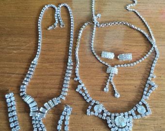 Estate Lot Vintage Rhinestone Jewelry