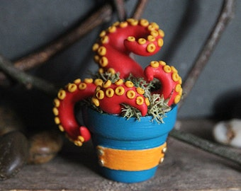 Plantacle Handmade Red & Yellow Planted Tentacle in Flower Pot