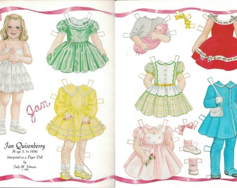 Vintage Paper Doll Jan Quisenberry artist Judy M Johnson 1989 uncut card stock magazine doll in color two sheet clothes doll toys