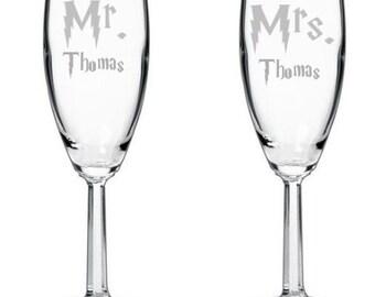 Harry Potter Mr. & Mrs. Champagne, Wine, Pint, Stemless Wedding Anniversary Glasses Nerd, Geek, Flutes Glasses