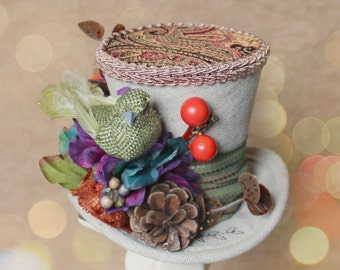 Autumn Fall Mini Top Hat, Mini Top Hat, Mad Hatter Hat, Fascinator, Kentucky Derby Fascinator Hat, Tea Party Hat, Wedding Hat, Women Top Hat