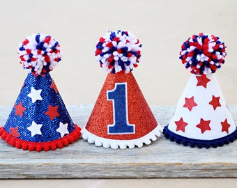 1st Birthday Mini 4th of July Party Hat - Girls Boys Dogs