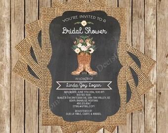 Rustic Chalkboard Burlap Boot Bouquet Bridal Shower Invitation Printable - Burlap Chalkboard Bridal Shower - Digital File - DIY Printable