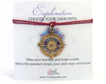 Exploration: Choose your own path - Gold Compass Make A Wish Bracelet- Compass Jewelry, Compass Bracelet, Travel bracelet, Travel Jewelry