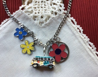 Feelin' Groovy Teal Enamel VW Bus Charm Necklace, Volkswagen, Volkswagon, 25 in, 63.5 cm