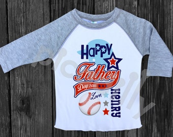 Boys FATHERS DAY Baseball Shirt Boys Personalized Fathers Day Gift Baseball Jersey or TEE Happy Fathers Day Tee 6mo to size 16.