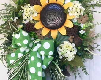 Summer or Fall Sunflower Burlap Mesh Wreath