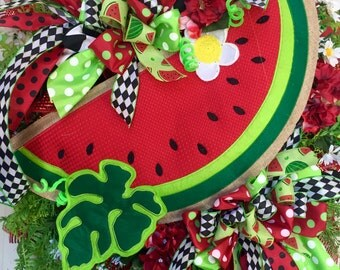 Watermelon Red, Black, and Green Mesh Spring and Summer Wreath