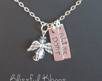 """Don't Blink Angel Pendant - 1"""" Rectangles Handstamped - Weeping Angel Jewelry"""