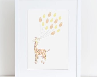 Baby Shower Keepsake Art, Giraffe Holding Thumb/fingerprint Balloons, Baby  Shower Activity,