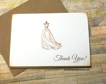 Rustic Bridal Shower Thank You Note Card Set - Vintage Bridal Thank You Cards - Sweet 16 Bridal Thank You Cards - Rustic Vintage