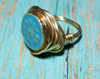 Paris - Gold Wire Wrap Ring, Aqua Wire Rings, Wire Wrap Rings, Gold and Aqua Wire Wrap Rings, Wire Rings, Aqua Rings, Silver Rings