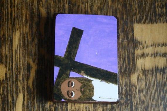 "2.5"" X 3.5"" Jesus Falls a third time Byzantine Folk style icon on wood by DL Sayles"