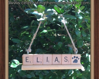 Personalized Pet Ornament, CHOOSE ANY Name (up to 8 letters), Cat Ornament, Dog Ornament, Paw Print, Pet Memorial
