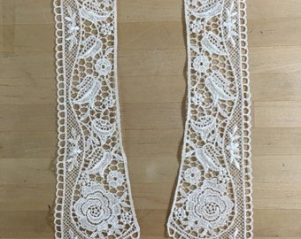 Ivory Lace Collar Applique. in Ivory Venise Lace for Bridal, Straps, Lolita, Sweaters, Lace Necklaces, Costumes