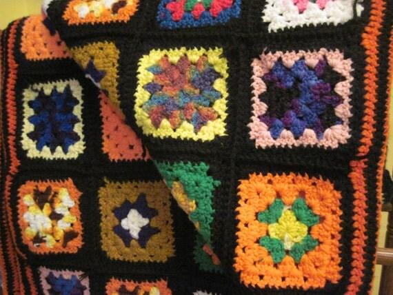 Jahrgang handgemachte Oma Quadrat häkeln wolle bunte Afghan