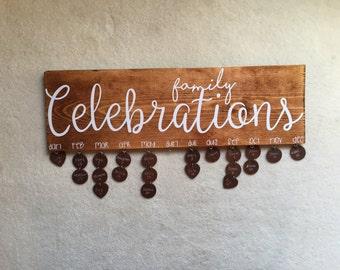 Family Celebrations Board - Family Birthday Board - Wall Hanging - Important Dates Board - Celebration Board - Wall Calendar