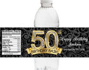 Adult Birthday Water Bottle Labels   Diamond 50th Birthday Bottle Label