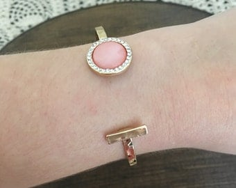 Pink and Gold Bar Bracelet