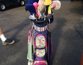 Set of 8 Custom Hand Knit Headcovers to coordinate with Bag in Photo