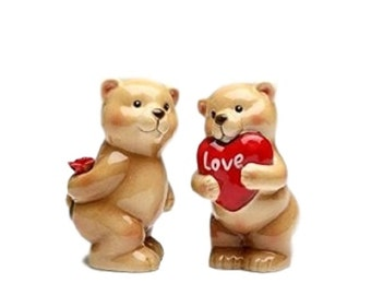 """Lover Bear Couple with Heart Gift and Rose Salt and Pepper Shakers 4"""" tall"""
