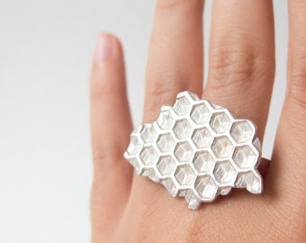 Bee Panel Sterling Silver One of a Kind Statement Ring (BP007)