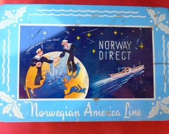 Vintage Norwegian American Line Holiday/Christmas Tin